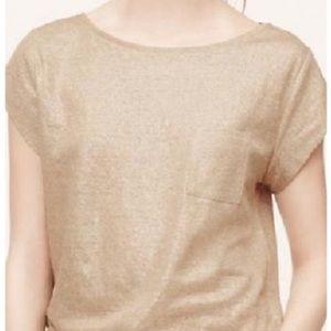 Loft Linen Metallic Gold Pocket T-shirt Top
